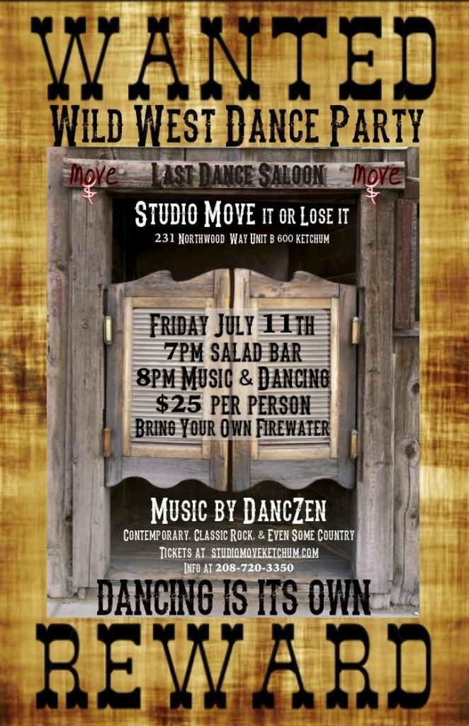 studio move ketchum wild west dance party flyer
